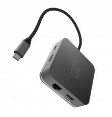 Adapter/ Przejściówka/ HUB USB-C Green Cell 6w1 (USB 3.0 HDMI Ethernet USB-C) do Apple MacBook/ Dell XPS/ Asus ZenBook i innych