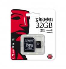 Karta pamięci Kingston MicroSDHC 32GB UHS-I U1 (45MB/s) + adapter (SDC10G2/32GB)
