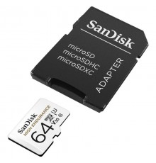 SANDISK HIGH ENDURANCE microSDXC 64GB V30 z adapterem